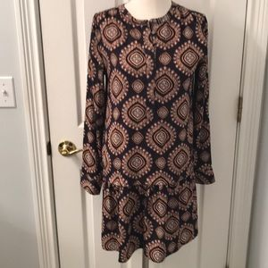 Loft navy gold brown medallion dress
